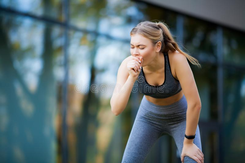Fitness. Athlete girl, thlete exercise at outside, woman fitness. Young Beautiful Woman Stretching In The Park stock photos