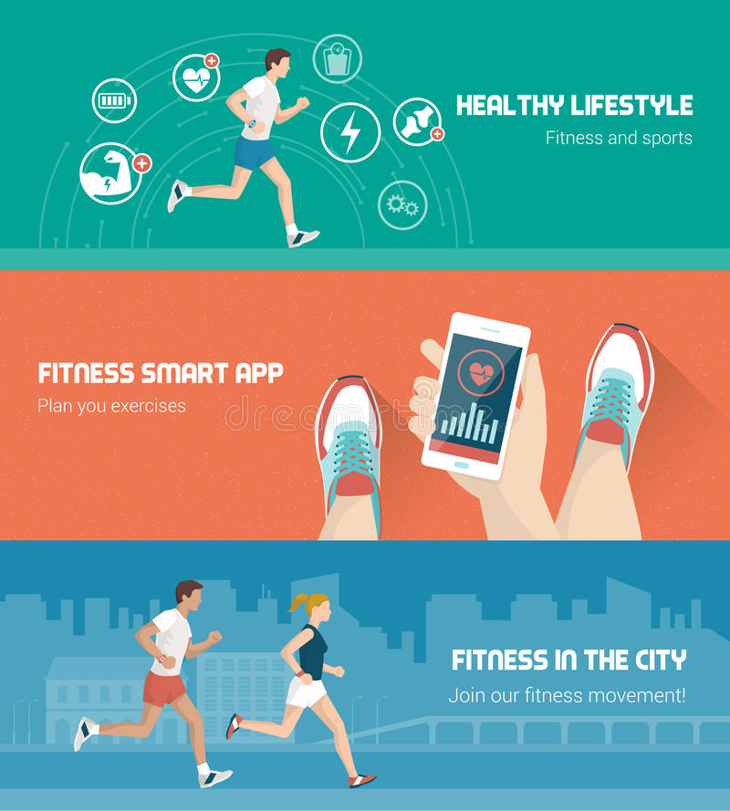 Fitness banner set. Fitness, technology and runners race banners set vector illustration
