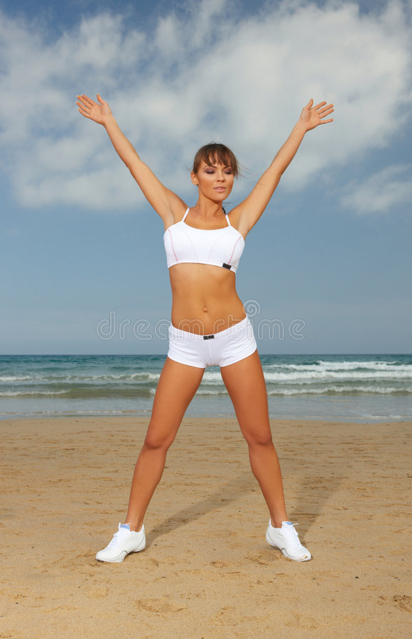 Download Fitness on beach stock photo. Image of female, carefree - 4514176