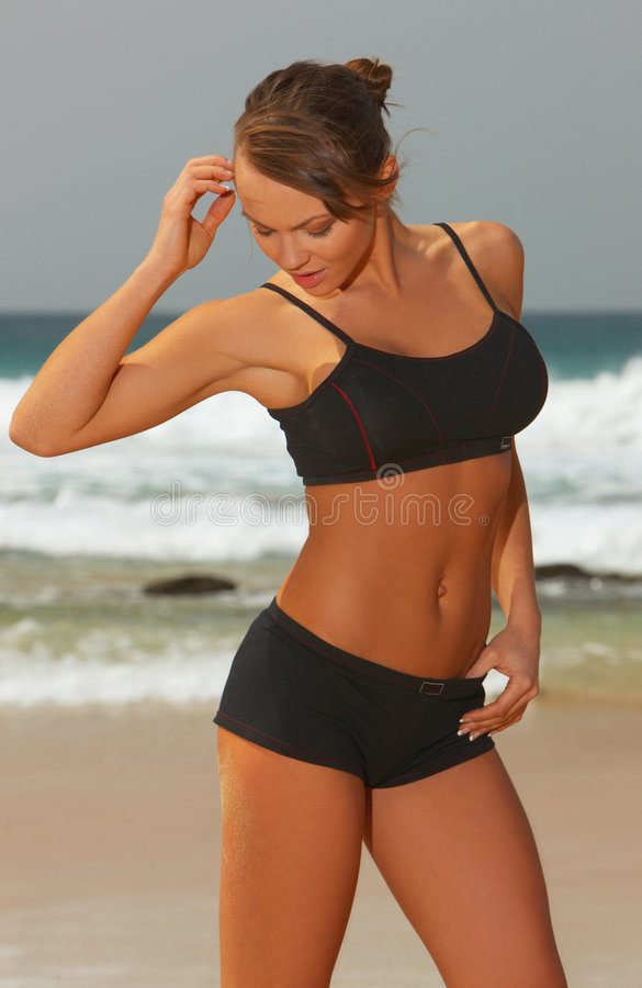 Download Fitness On Beach Stock Photo - Image: 4527090