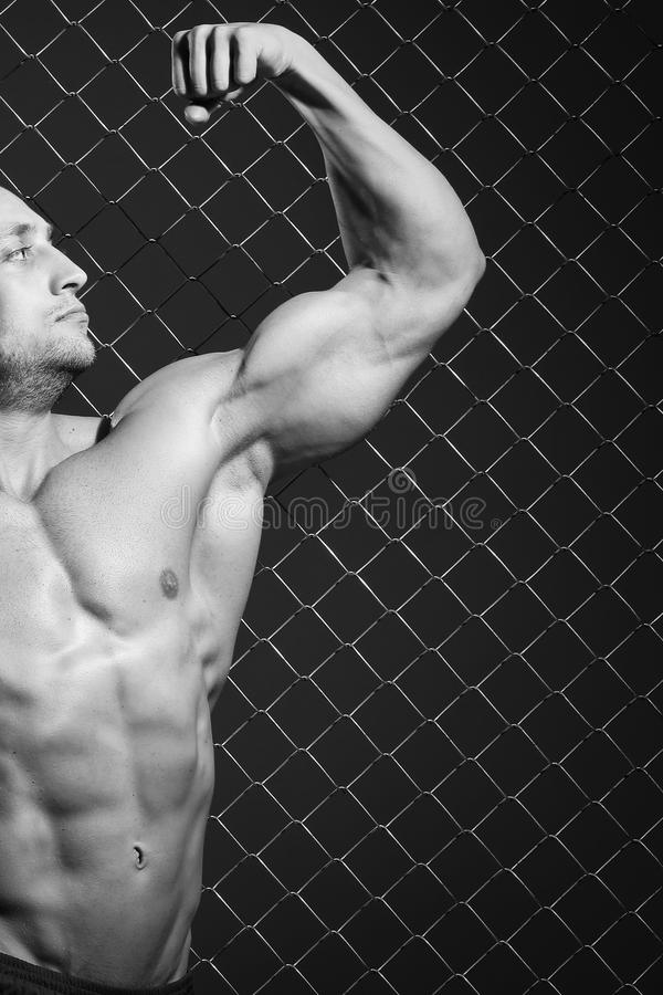 Fitness. Beautiful, strong man and his muscles. Beautiful, strong man on fence background royalty free stock photography