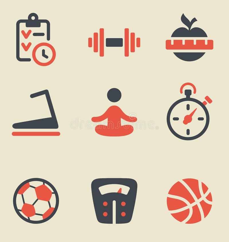 Download Fitness Black And Red Icon Set Stock Vector - Image: 31411693