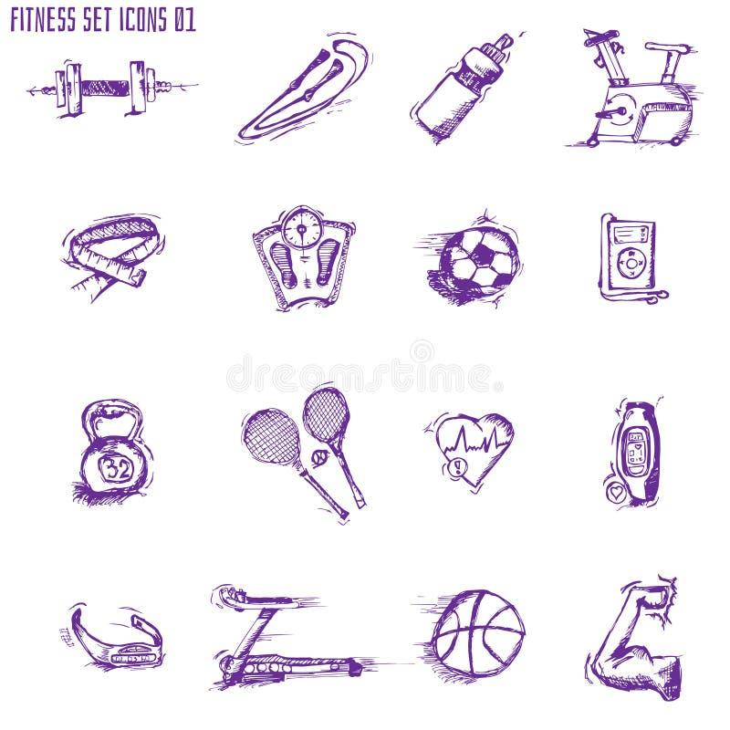 Fitness bodybuilding de oefeningsschets van de dieetsport vector illustratie