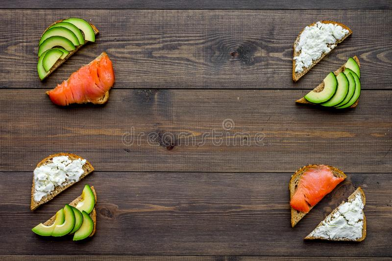 Fitness breskfast with homemade sandwiches on wooden background top view mockup stock image