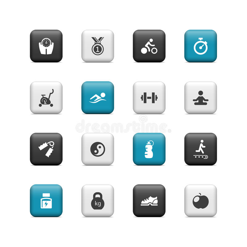 Fitness buttons vector illustration