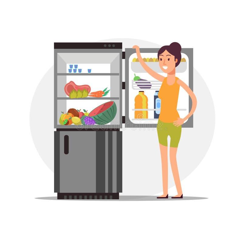 Fitness cartoon girl at fridge with healthy food stock illustration
