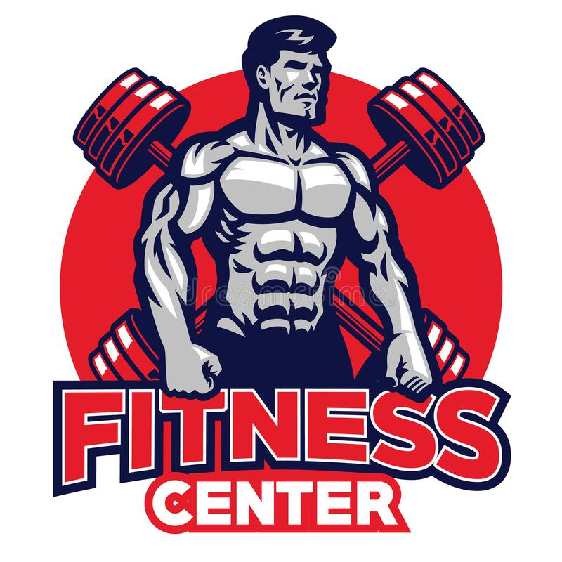 Fitness center badge vector illustration