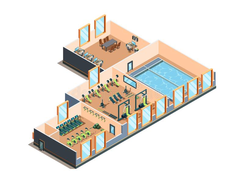 Fitness center. Gym club and pool interior rooms with equipment cardio exercise aerobic training spa salon isometric stock illustration