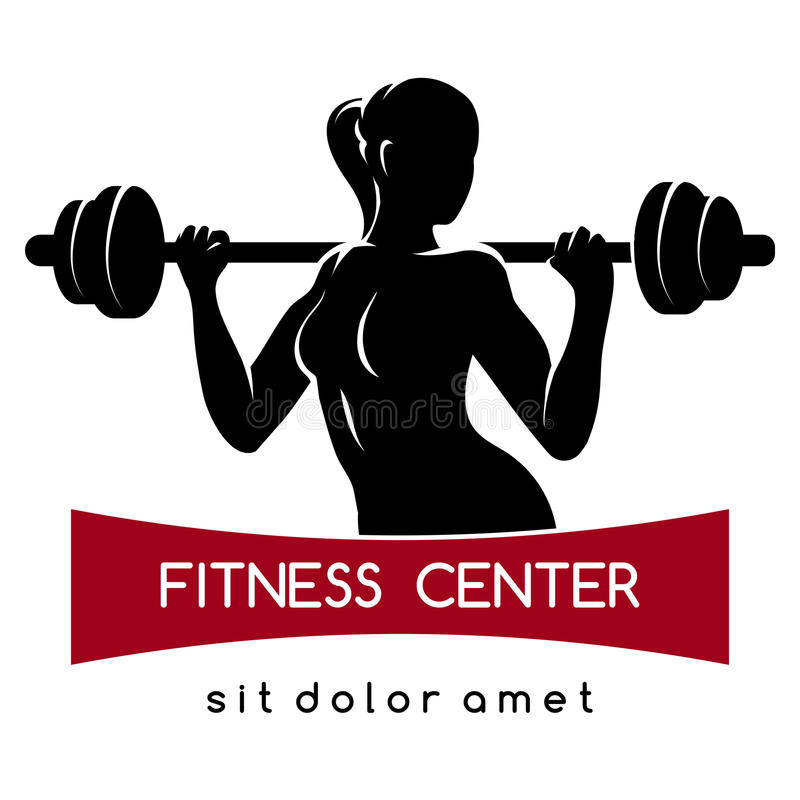 Fitness Center or Gym Logo. Fitness center or Gym emblem. Elegant woman silhouette with barbell. Fitness exercises concept. Free font used. on white vector illustration