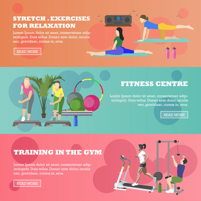 Fitness center horizontal banners set. Sport equipment and accessories. Training concept vector illustration. People vector illustration