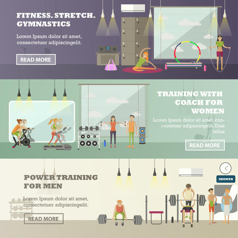 Fitness center horizontal banners set. Sport equipment and accessories. Training concept vector illustration. royalty free illustration