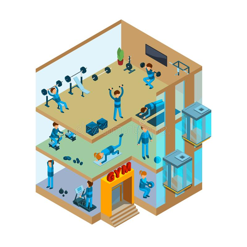 Fitness center interior. Gym sport club with classes for exercises and health massage vector isometric concept royalty free illustration