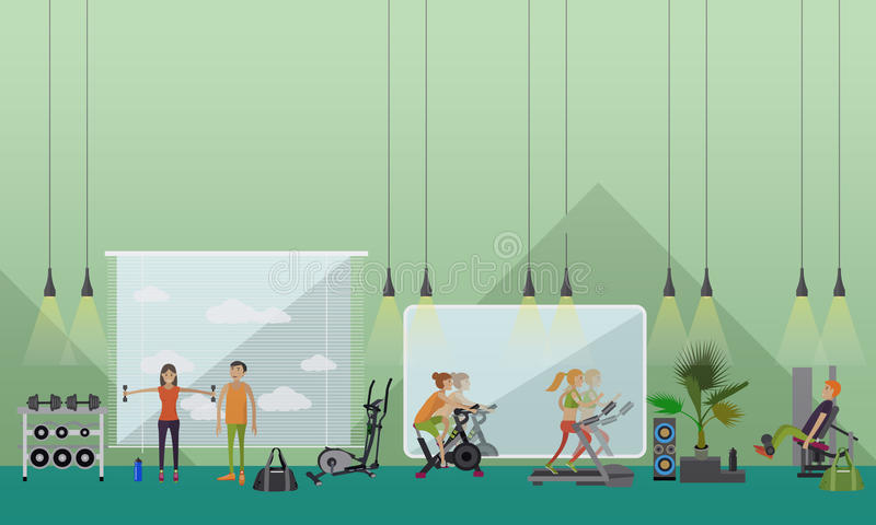 Fitness center interior vector illustration. People work out in gym horizontal banners. vector illustration