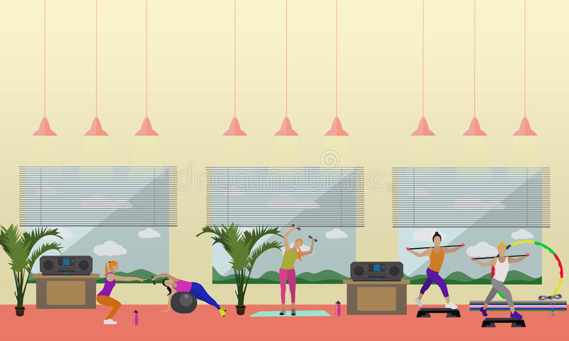 Fitness center interior vector illustration. People work out in gym horizontal banners. Sport activities concept. royalty free illustration
