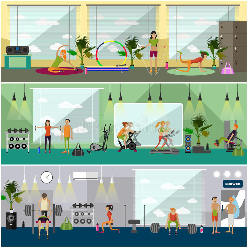 Fitness center interior vector illustration. People work out in gym horizontal banners. Sport activities concept. stock illustration
