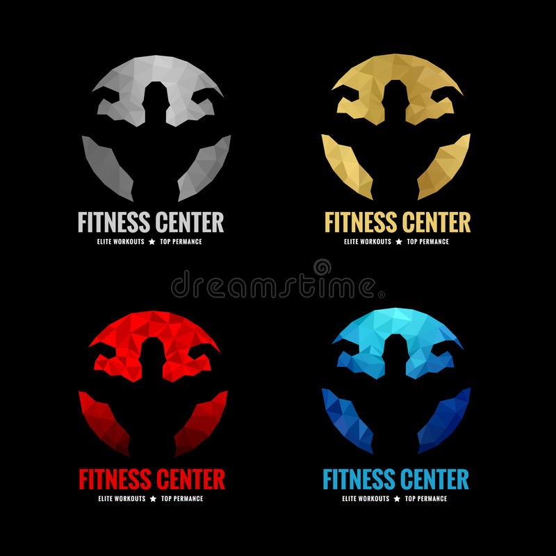 Fitness center logo. Low poly 4 color is silver gold red and blue (Vocal muscle men royalty free illustration