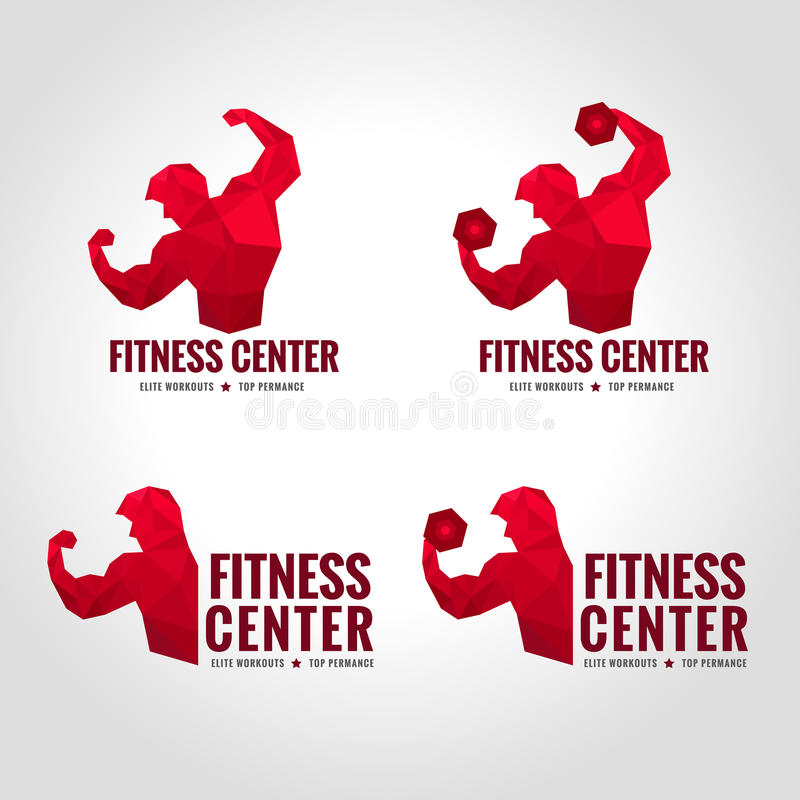 Fitness center logo low poly. Men show greater strength and muscle Red tone stock illustration