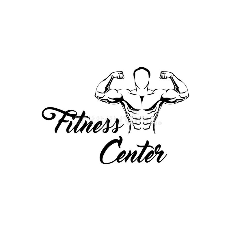 Fitness center logo. Man with the muscles. Posing bodybuilding. Vector file. Fitness center logo. Man with the muscles. Posing bodybuilding. Vector illustration royalty free illustration