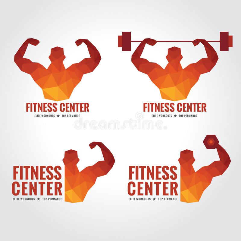 Fitness center logo (Men's muscle strength and weight lifting). Fitness center logo low poly art design (Men's muscle strength and weight lifting royalty free illustration