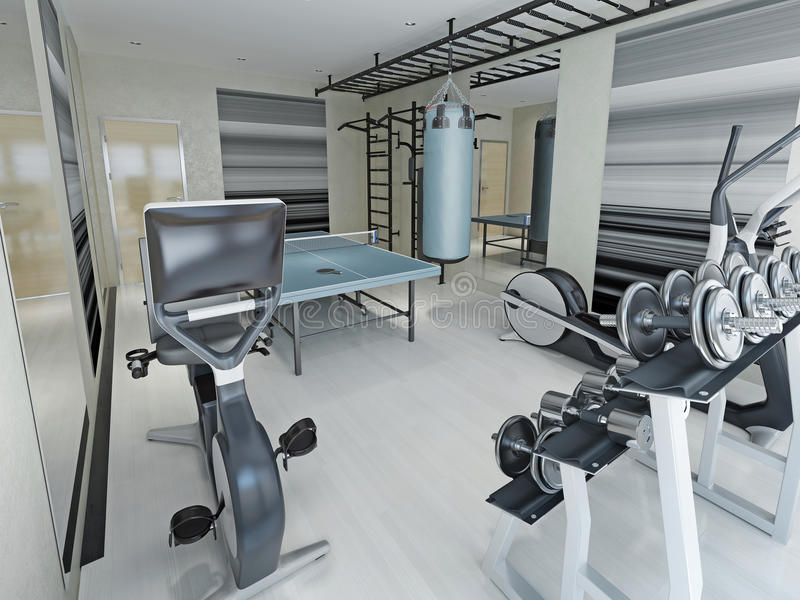Fitness center techno style. 3d render stock photo