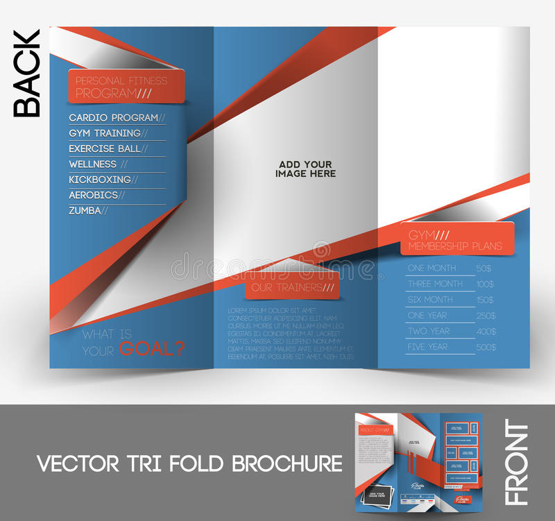 Free Fitness Center Tri-Fold Brochure Stock Photography - 42575012