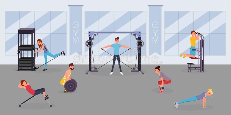 Fitness center workout flat vector illustration. Happy sportsmen, sportswomen training with gym equipment cartoon. Fitness center workout flat vector vector illustration