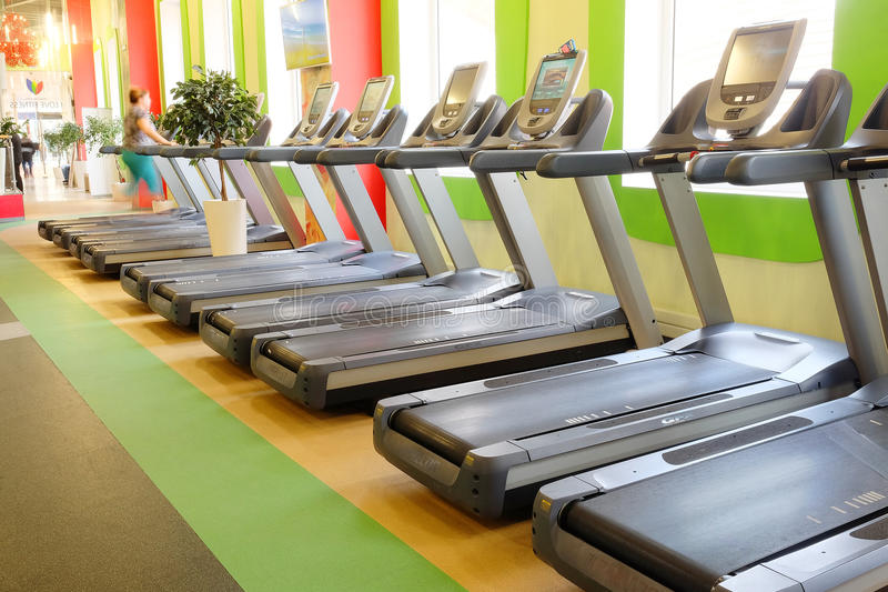 Fitness centers. Moscow, Russia, October, 7, 2015: interior of a modern fitness hall in Moscow. Today fitness centers are very popular with Muscovites royalty free stock photo
