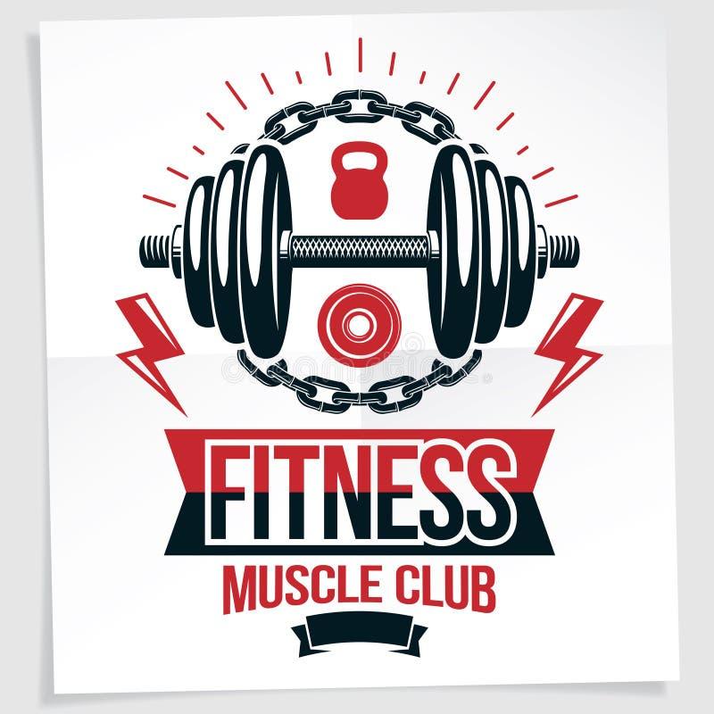 Fitness centrum maakte de vector marketing banner het gebruiken van de domoor van het schijfgewicht en van de ketelklok omringd s royalty-vrije illustratie