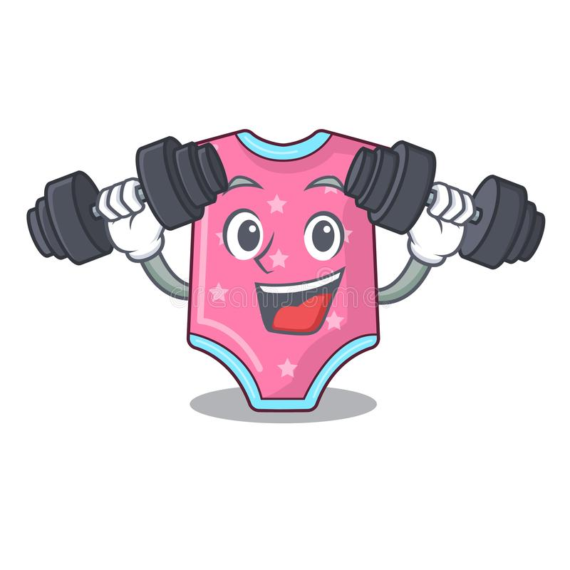 Fitness character baby clothes hanging on clothesline. Vector illustration royalty free illustration