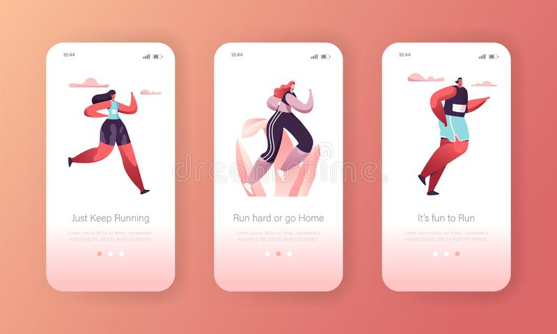 Fitness Character Exercise Landing Page Template Set. Healthy Sport Training Workout. Marathon Lifestyle Concept. For Website or App. Flat Cartoon Vector stock illustration