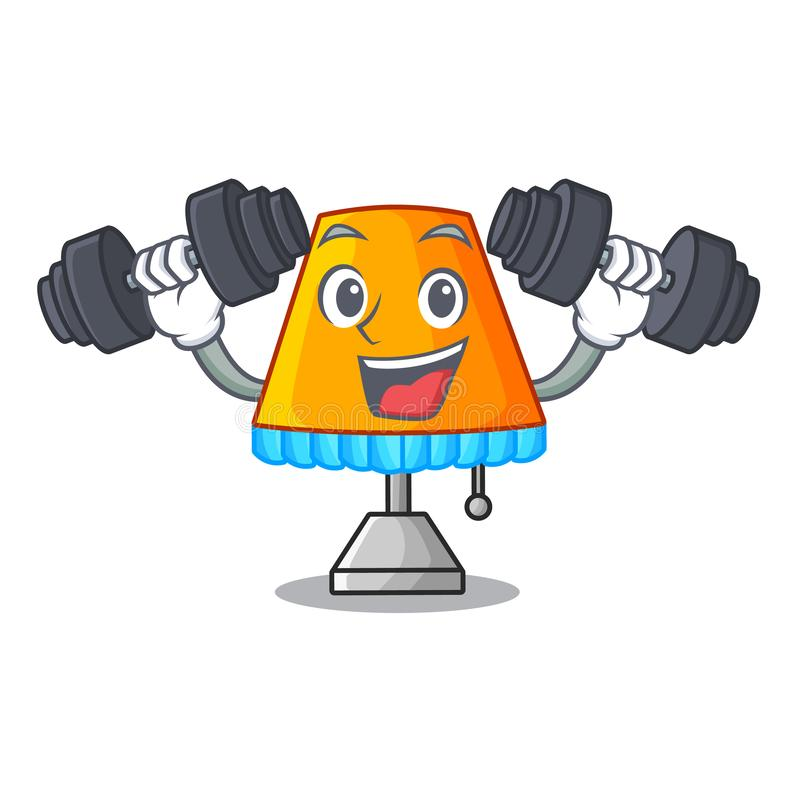 Fitness character table office lamp in indoor stock illustration
