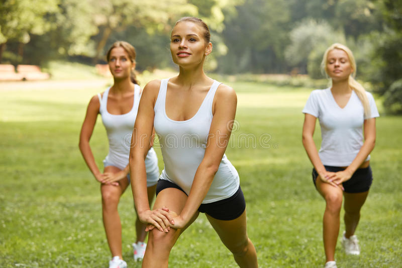 Fitness class. Beautiful young women doing exercise at summer pa. Rk stock photography
