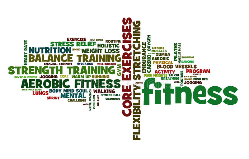 Fitness Cloud. A cloud of words of the elements of fitness, its benefits and forms, in vibrant, energetic colors