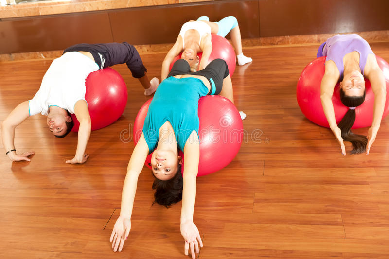 Download At the fitness club. stock photo. Image of fitness, ball - 26437510
