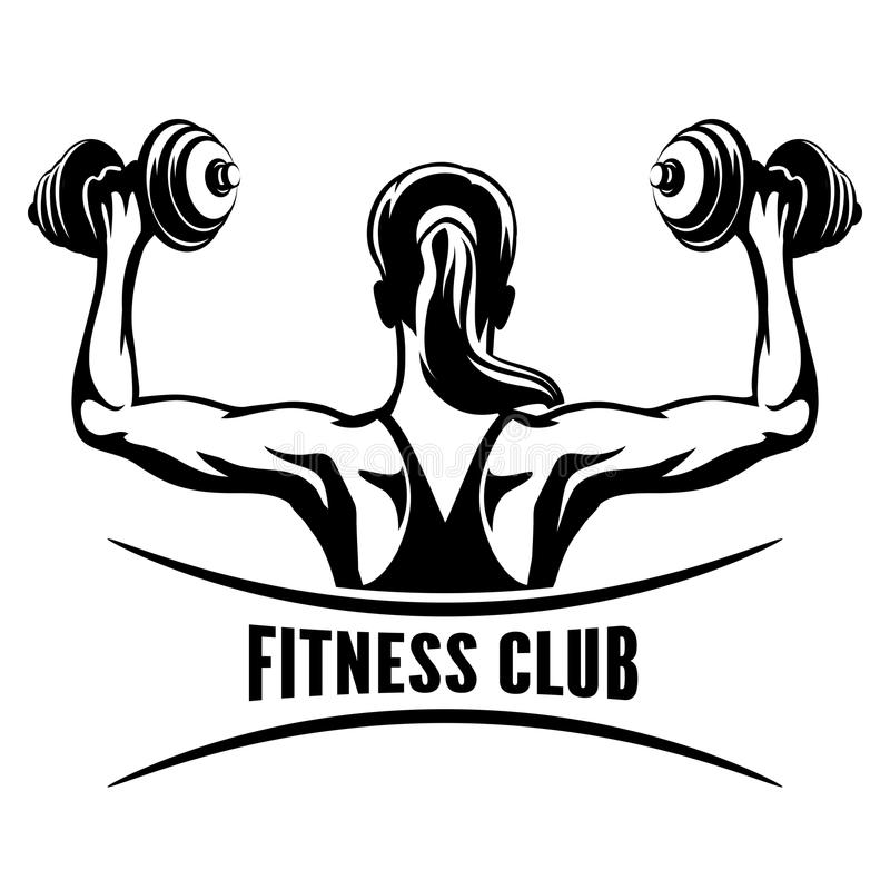 Fitness Club Emblem. Fitness Club logo or emblem with training muscled woman. Woman holds dumbbells. Only free font used. on white background stock illustration