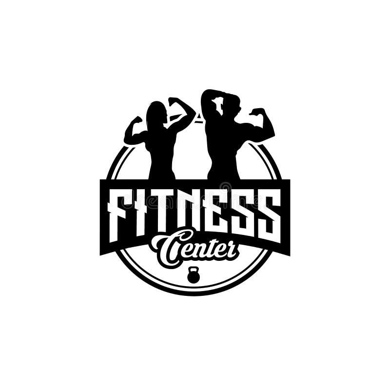 Fitness-Club-Entwürfe mit der Ausübung des athletischen Mannes und der Frau lokalisiert auf weißem, Vektorillustration lizenzfreie abbildung