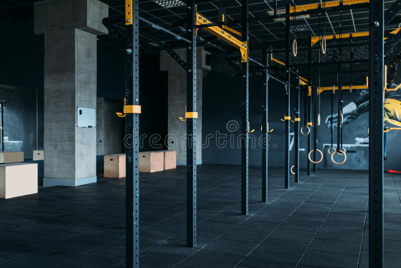 Fitness club interior. Gym nobody stock images