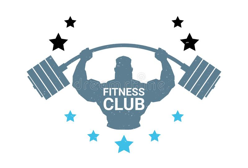 Fitness Club Logo With Silhouette Athletic Man Hold Barbell On White Background Emblem Of Modern Gym royalty free illustration