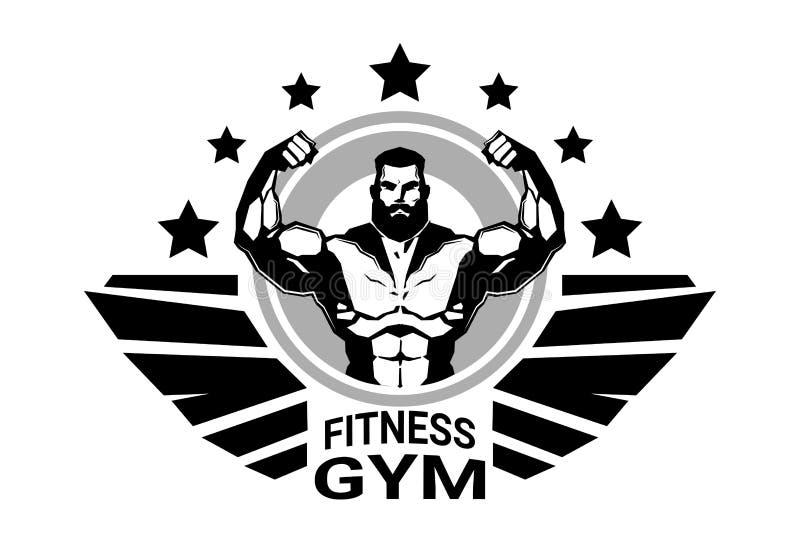 Fitness-Club-oder Turnhallen-Logo With Strong Athletic Man-Bodybuilder-Schattenbild auf weißem Hintergrund lizenzfreie abbildung