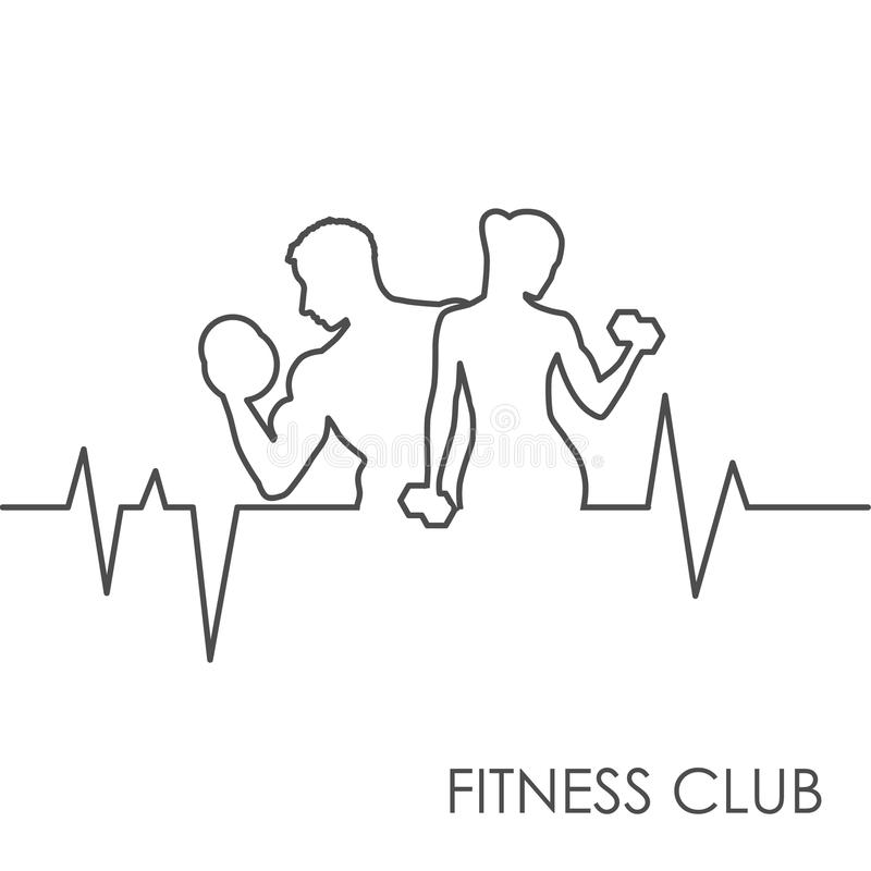 Fitness-Club Schwarzweiss vektor abbildung
