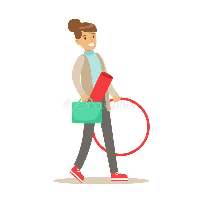Fitness-Club-Trainer Walking To Work mit Hula-Band und Trainings-Matte stock abbildung