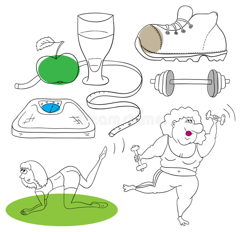 Fitness collection royalty free illustration