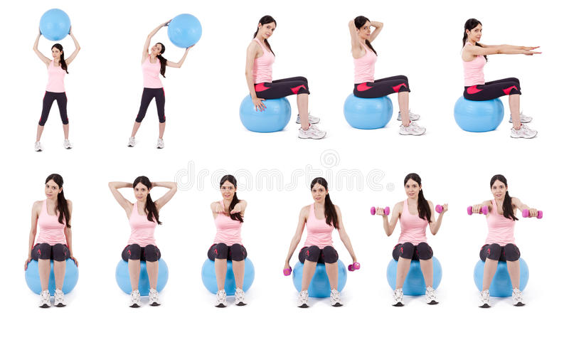 Fitness collection. Collection of exercises with the ball royalty free stock images