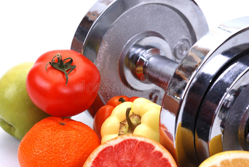 Fitness concept. Assorted fresh fruits and vegetables , fitness concept stock image