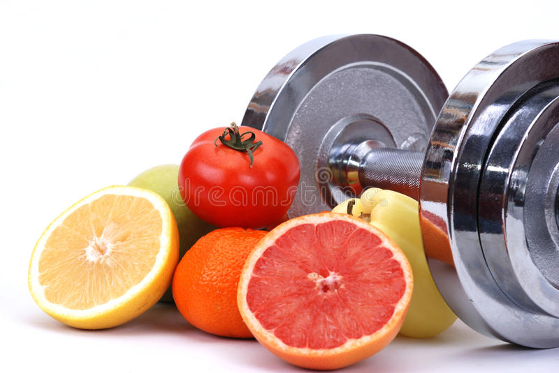 Fitness concept. Assorted fresh fruits and vegetables , fitness concept stock photos