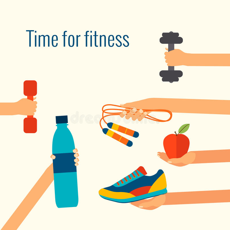 Fitness concept. Flat vector illustration and modern design element royalty free illustration