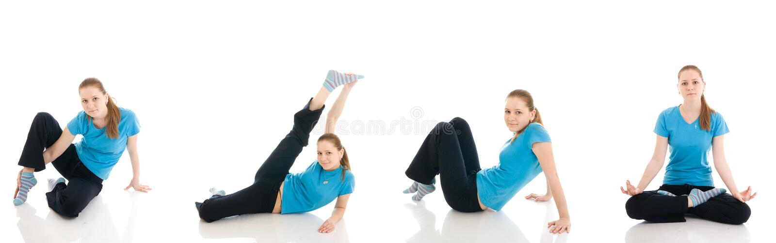 Fitness concept:The four young woman stock photos