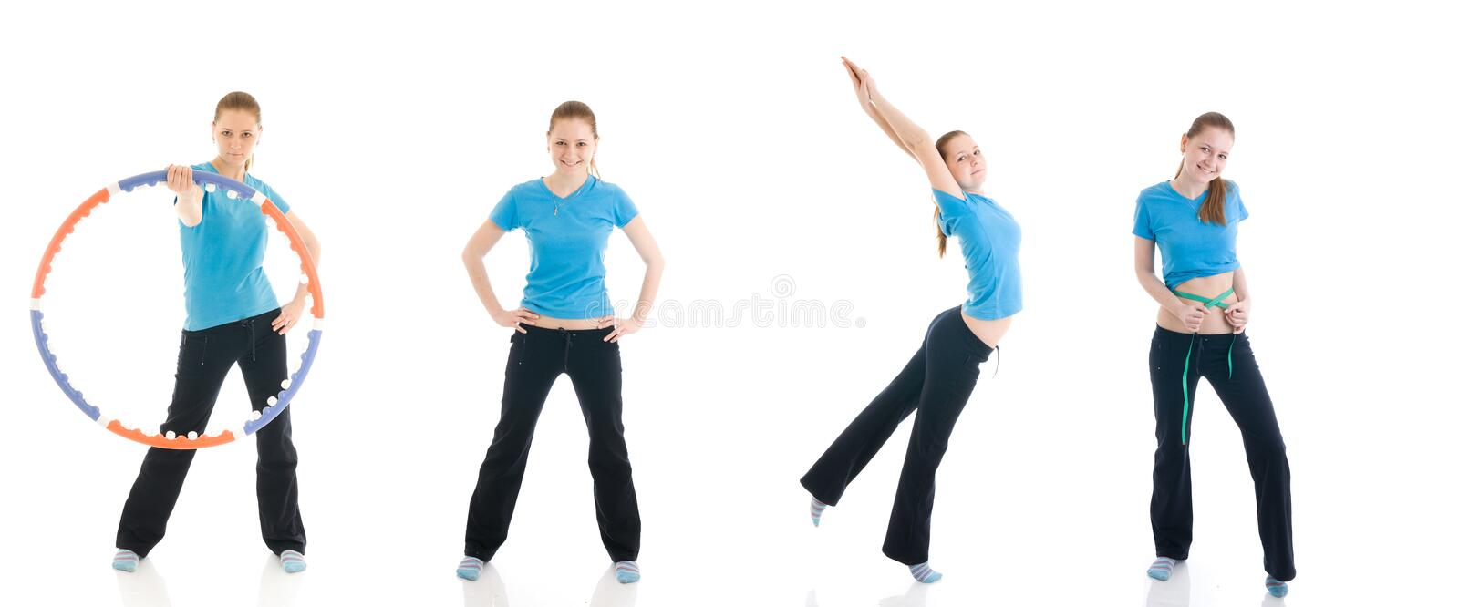 Fitness concept:The four young woman. Isolated on a white background stock image
