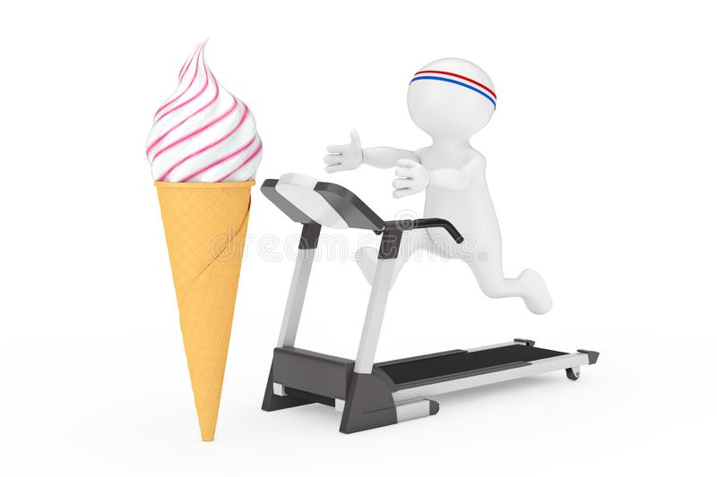 Fitness Concept. Person Runner Runs Along the Treadmill and Reaches for the Soft Serve Ice Cream in Waffle Crispy Ice Cream Cone. stock image