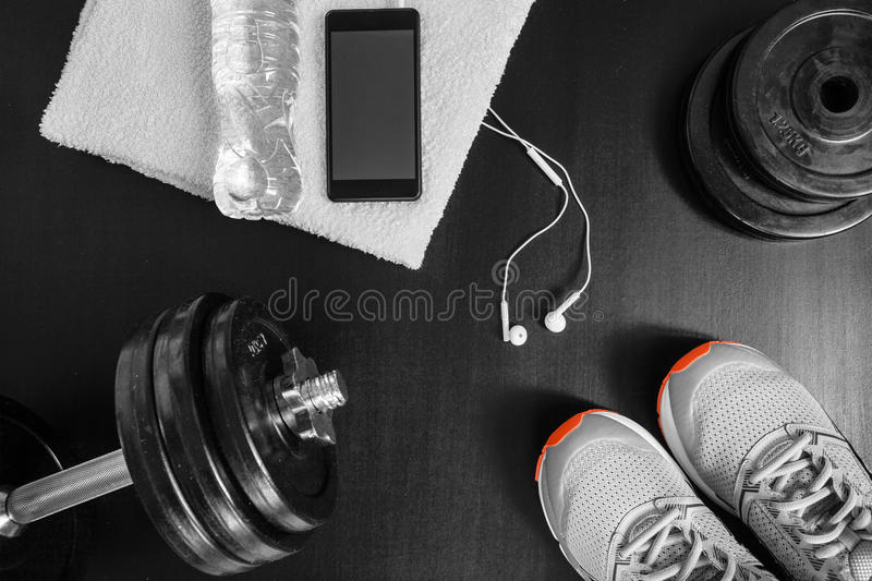 Fitness concept. Sport equipment. stock photo